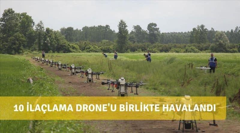 Türkiye'de İlk Defa Çoklu Drone İle Zirai İlaçlama Denemesi Yapıldı. Aynı Anda 10 Drone Havalandı
