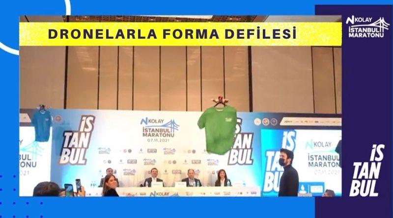 N Kolay İstanbul Maratonu Tanıtım Toplantısında TDL Pilotları Drone İle Forma Defilesi